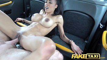 Fake taxi diminutive darksome with large bumpers works drives 10-pounder for cum