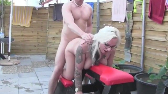 Curvy milf non-professional with glasses bonks stud at pool party