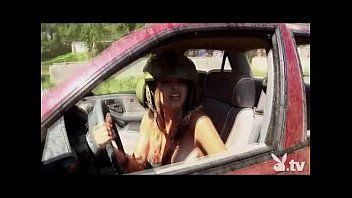 Bare beauties driving in a demolition derby
