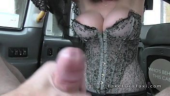 Massive whoppers blond in corset copulates in fake cab