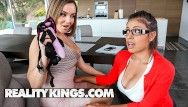 Reality kings - breasty milf coach thongs on and copulates large tit lesbo