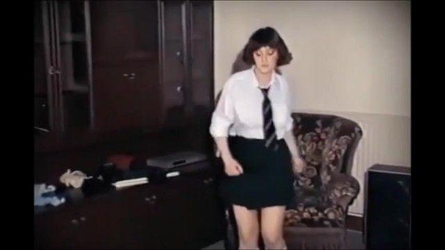 Vintage schoolgirl large mambos disrobes